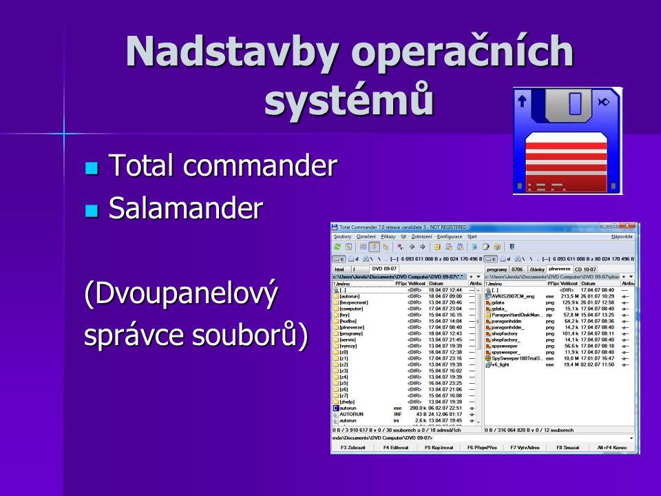 Nadstavby operačních systémů Total commander Total commander Salamander Salamander(Dvoupanelový správce souborů)