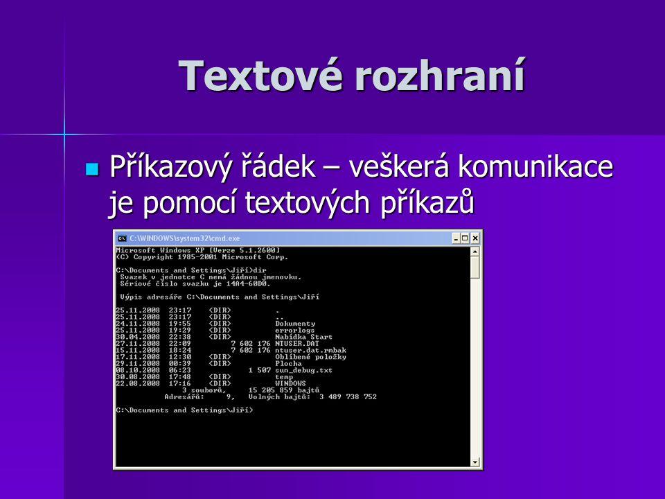 Textové rozhraní Příkazový řádek – veškerá komunikace je pomocí textových příkazů Příkazový řádek – veškerá komunikace je pomocí textových příkazů