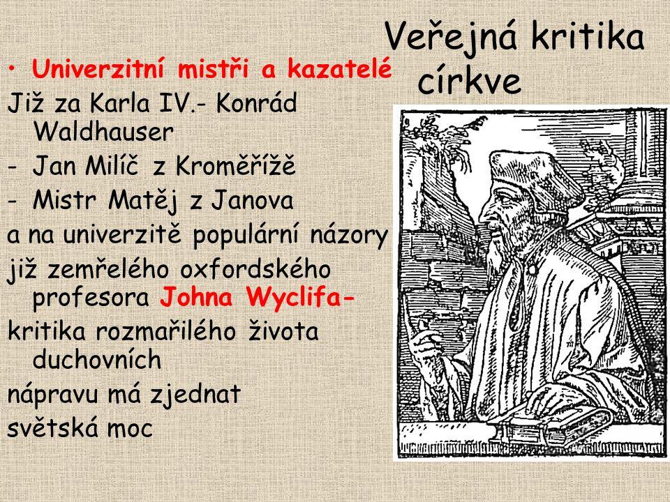 Všem vuobec a každému křesťanu zvláště buď to svědomo i oznámeno, že obec Česká a v naději Boží věrní křesťané stojie a s Boží pomocí státi mienie vším svým statkem i životem i smrtí, jakož nejdéle budú moci, proti každému živému jim v tom odpornému, nic o jiné se neposazujíc a vydávajíc, než o ty kusy čtyři křesťanské a v Novém Zákoně přikázané od Pána Jezu Krista: Najprvé: aby slovo Božie po království Českém svobodně a bez překážky od křesťanských kněží bylo zvěstováno a kázáno, jakož Spasitel náš přika zuje … Druhé: aby velebná svátost těla a krve Božie pod oběma zpósobama chleba a vína všem věrným křesťanuom, jimž hřiech smrtedlný nepřekážie, svobodně byla dávána, podlé ustavenie a přikázanie Spasitele …..