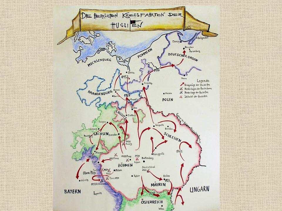 Spanilé jízdy 1428- 1433 Vojenské výpravy do ciziny, k sousedům,ale 1433 až k Baltu Cíl: 1.šíření husitských myšlenek 2. výprava za kořistí, hlavně po