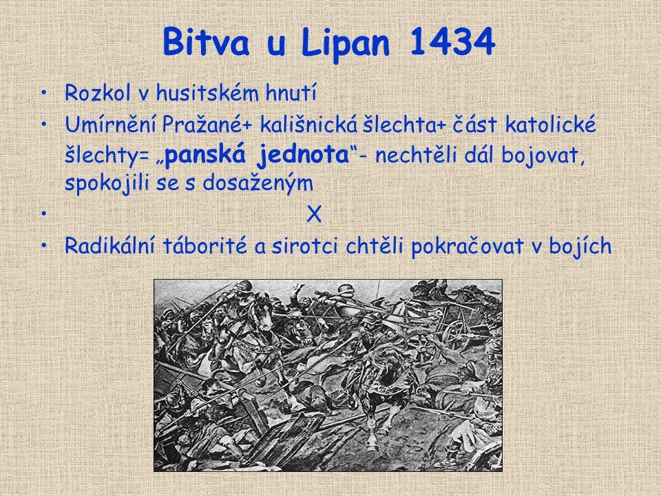 Basilejská kompaktáta Po porážce u Domažlic 1431 nabídli odpůrci husitů politické vyjednávání Koncil v Basileji (Švýcarsko)- diskuse o 4 pražských art