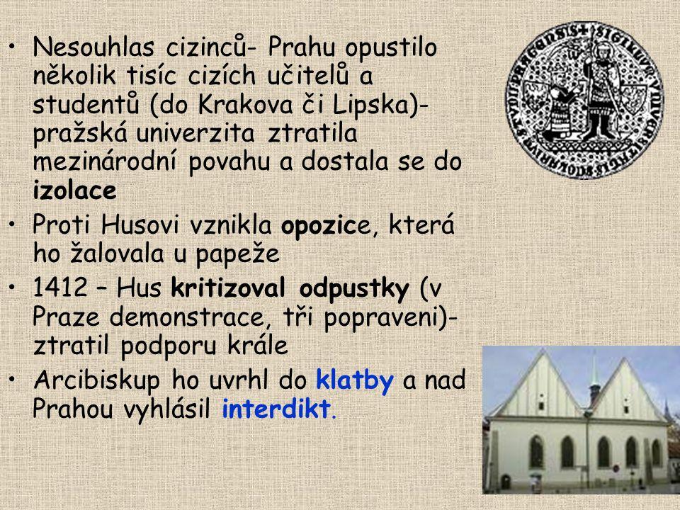 Nesouhlas cizinců- Prahu opustilo několik tisíc cizích učitelů a studentů (do Krakova či Lipska)- pražská univerzita ztratila mezinárodní povahu a dostala se do izolace Proti Husovi vznikla opozice, která ho žalovala u papeže 1412 – Hus kritizoval odpustky (v Praze demonstrace, tři popraveni)- ztratil podporu krále Arcibiskup ho uvrhl do klatby a nad Prahou vyhlásil interdikt.