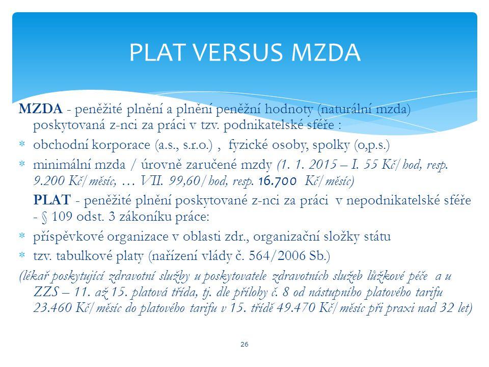 MZDA - peněžité plnění a plnění peněžní hodnoty (naturální mzda) poskytovaná z-nci za práci v tzv.