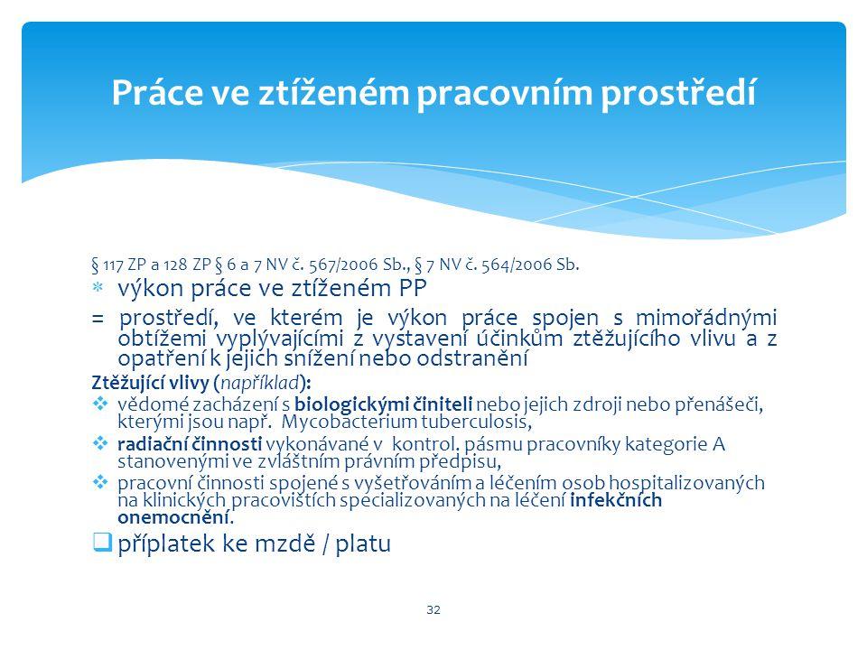 § 117 ZP a 128 ZP § 6 a 7 NV č.567/2006 Sb., § 7 NV č.
