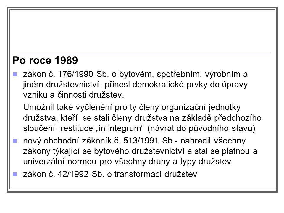 Po roce 1989 zákon č. 176/1990 Sb. o bytovém, spotřebním, výrobním a jiném družstevnictví- přinesl demokratické prvky do úpravy vzniku a činnosti druž