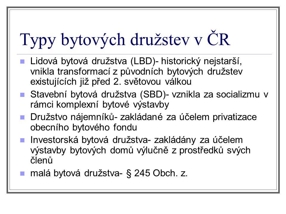 Typy bytových družstev v ČR Lidová bytová družstva (LBD)- historický nejstarší, vnikla transformací z původních bytových družstev existujících již pře