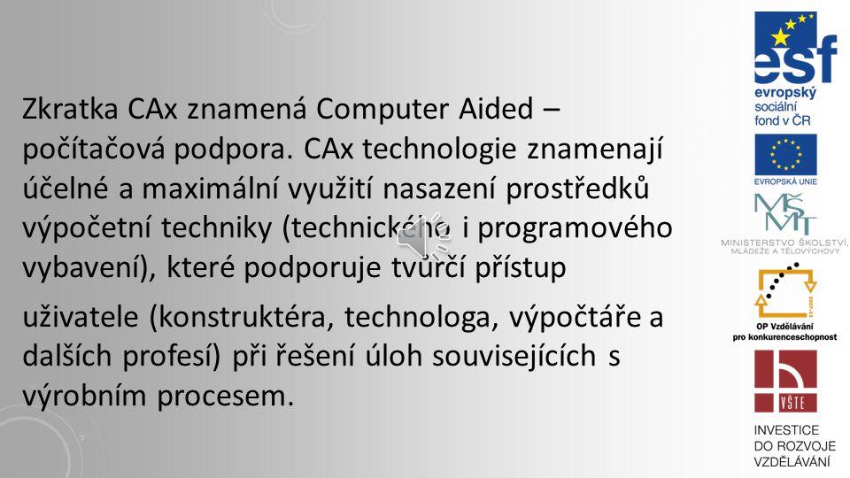 Zkratka CAx znamená Computer Aided – počítačová podpora.