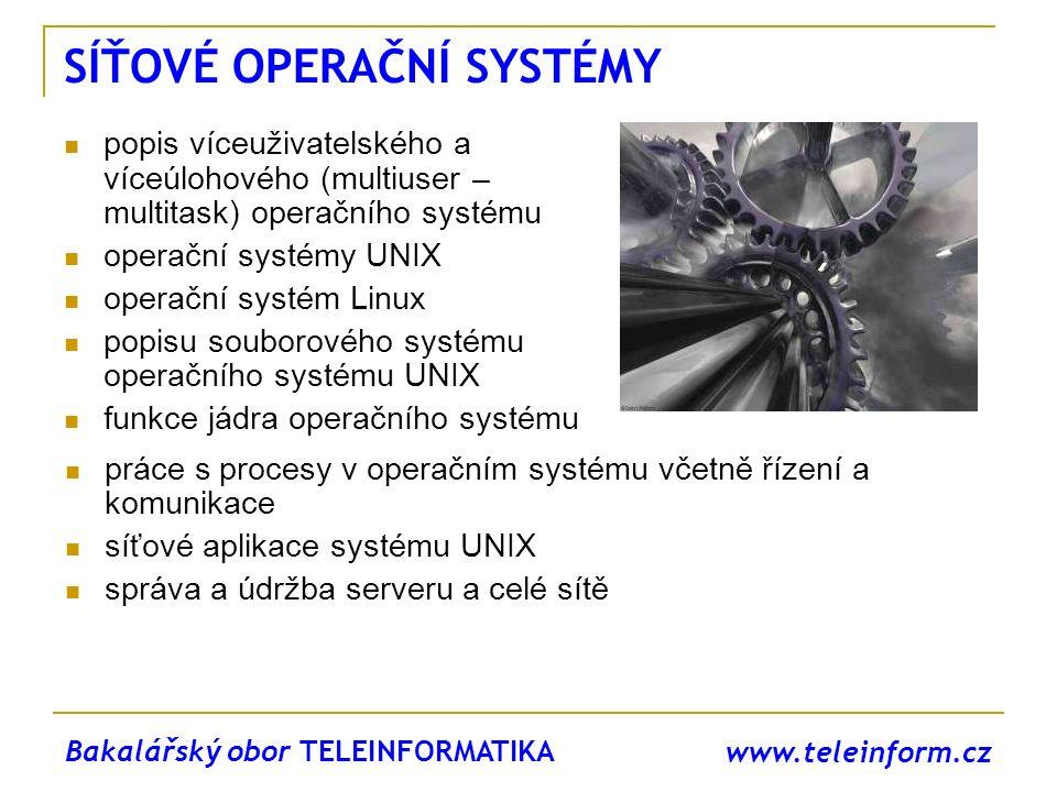 www.teleinform.cz SÍŤOVÉ OPERAČNÍ SYSTÉMY popis víceuživatelského a víceúlohového (multiuser – multitask) operačního systému operační systémy UNIX ope