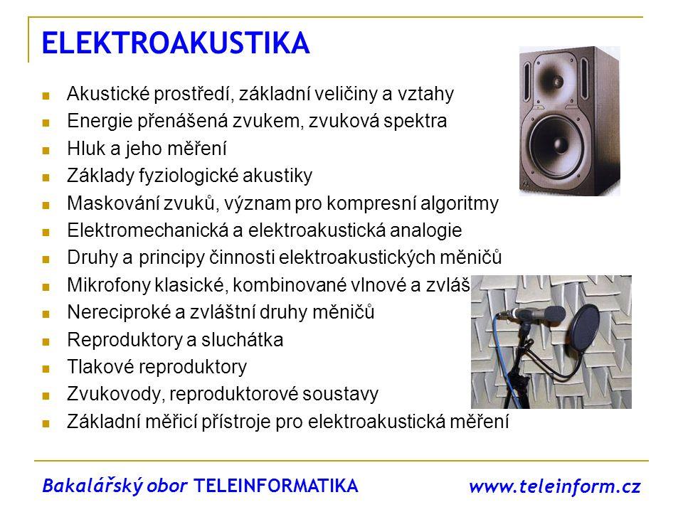 www.teleinform.cz ELEKTROAKUSTIKA Akustické prostředí, základní veličiny a vztahy Energie přenášená zvukem, zvuková spektra Hluk a jeho měření Základy
