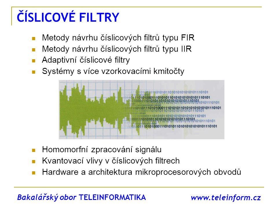 www.teleinform.cz ČÍSLICOVÉ FILTRY Metody návrhu číslicových filtrů typu FIR Metody návrhu číslicových filtrů typu IIR Adaptivní číslicové filtry Syst