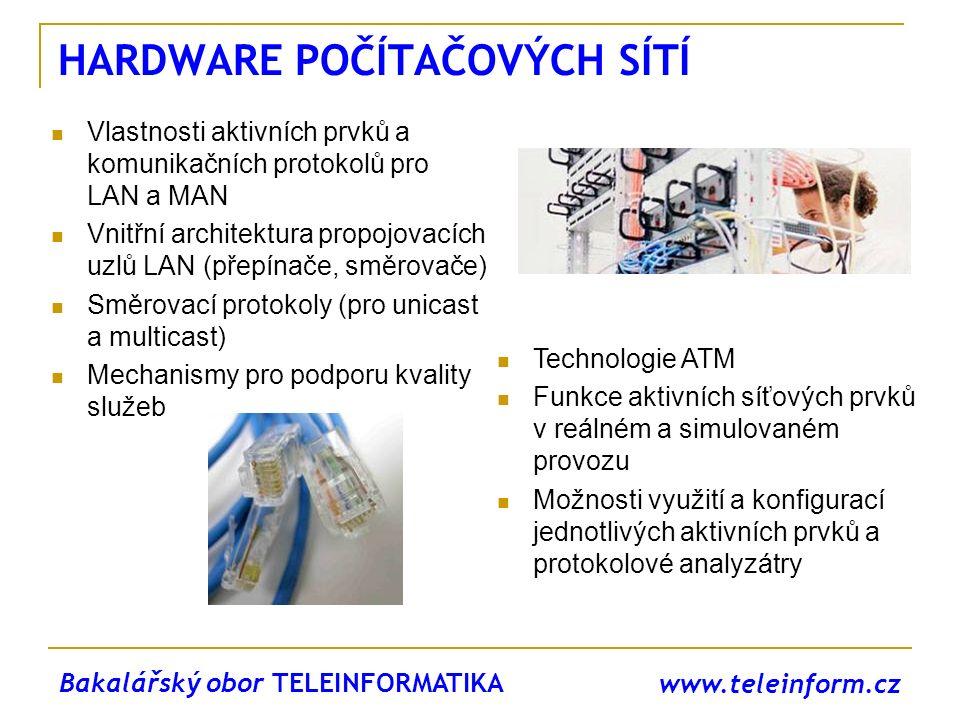 www.teleinform.cz HARDWARE POČÍTAČOVÝCH SÍTÍ Vlastnosti aktivních prvků a komunikačních protokolů pro LAN a MAN Vnitřní architektura propojovacích uzl