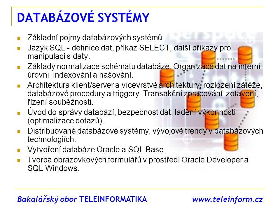 www.teleinform.cz DATABÁZOVÉ SYSTÉMY Základní pojmy databázových systémů. Jazyk SQL - definice dat, příkaz SELECT, další příkazy pro manipulaci s daty