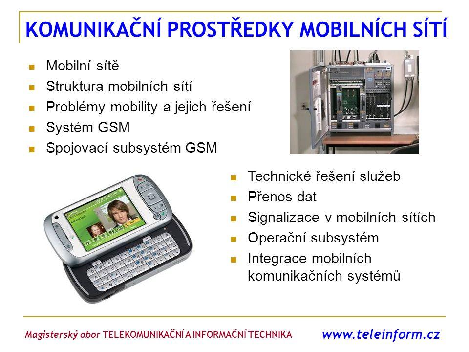 www.teleinform.cz KOMUNIKAČNÍ PROSTŘEDKY MOBILNÍCH SÍTÍ Mobilní sítě Struktura mobilních sítí Problémy mobility a jejich řešení Systém GSM Spojovací s