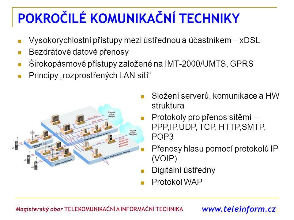 www.teleinform.cz POKROČILÉ KOMUNIKAČNÍ TECHNIKY Vysokorychlostní přístupy mezi ústřednou a účastníkem – xDSL Bezdrátové datové přenosy Širokopásmové