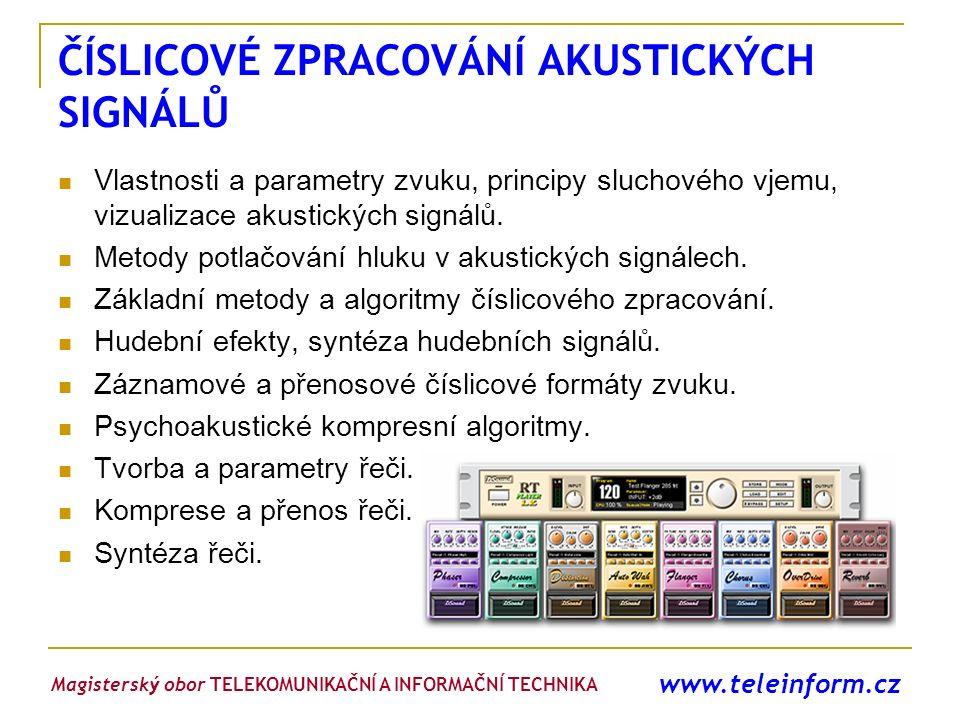 www.teleinform.cz ČÍSLICOVÉ ZPRACOVÁNÍ AKUSTICKÝCH SIGNÁLŮ Vlastnosti a parametry zvuku, principy sluchového vjemu, vizualizace akustických signálů. M