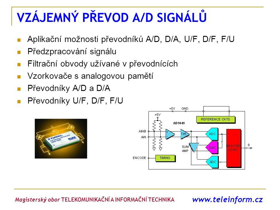 www.teleinform.cz VZÁJEMNÝ PŘEVOD A/D SIGNÁLŮ Aplikační možnosti převodníků A/D, D/A, U/F, D/F, F/U Předzpracování signálu Filtrační obvody užívané v