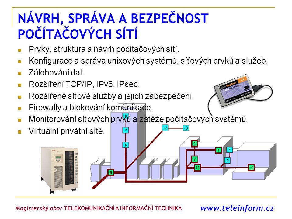 www.teleinform.cz NÁVRH, SPRÁVA A BEZPEČNOST POČÍTAČOVÝCH SÍTÍ Prvky, struktura a návrh počítačových sítí. Konfigurace a správa unixových systémů, síť