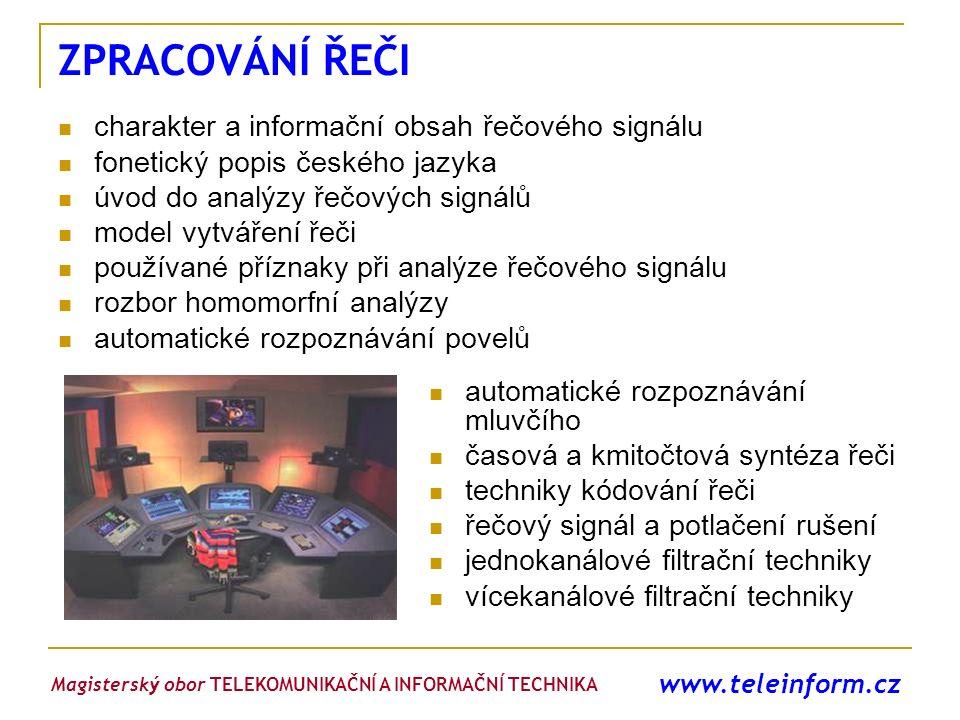 www.teleinform.cz ZPRACOVÁNÍ ŘEČI charakter a informační obsah řečového signálu fonetický popis českého jazyka úvod do analýzy řečových signálů model
