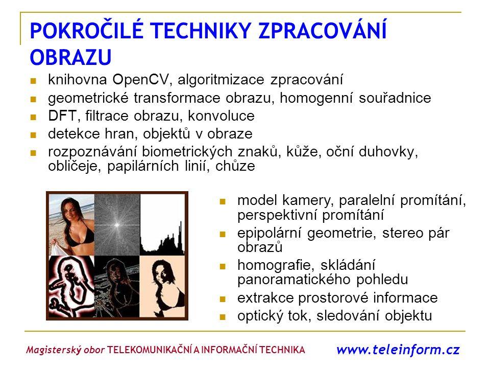 www.teleinform.cz POKROČILÉ TECHNIKY ZPRACOVÁNÍ OBRAZU knihovna OpenCV, algoritmizace zpracování geometrické transformace obrazu, homogenní souřadnice