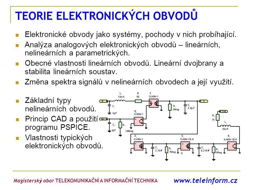 www.teleinform.cz TEORIE ELEKTRONICKÝCH OBVODŮ Elektronické obvody jako systémy, pochody v nich probíhající. Analýza analogových elektronických obvodů