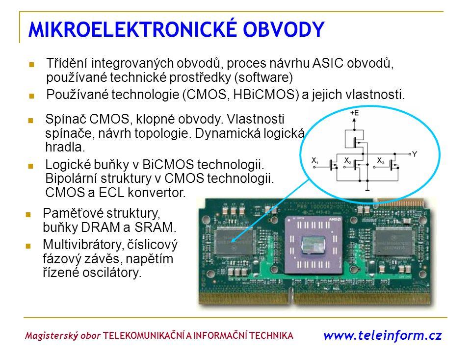 www.teleinform.cz MIKROELEKTRONICKÉ OBVODY Třídění integrovaných obvodů, proces návrhu ASIC obvodů, používané technické prostředky (software) Používan