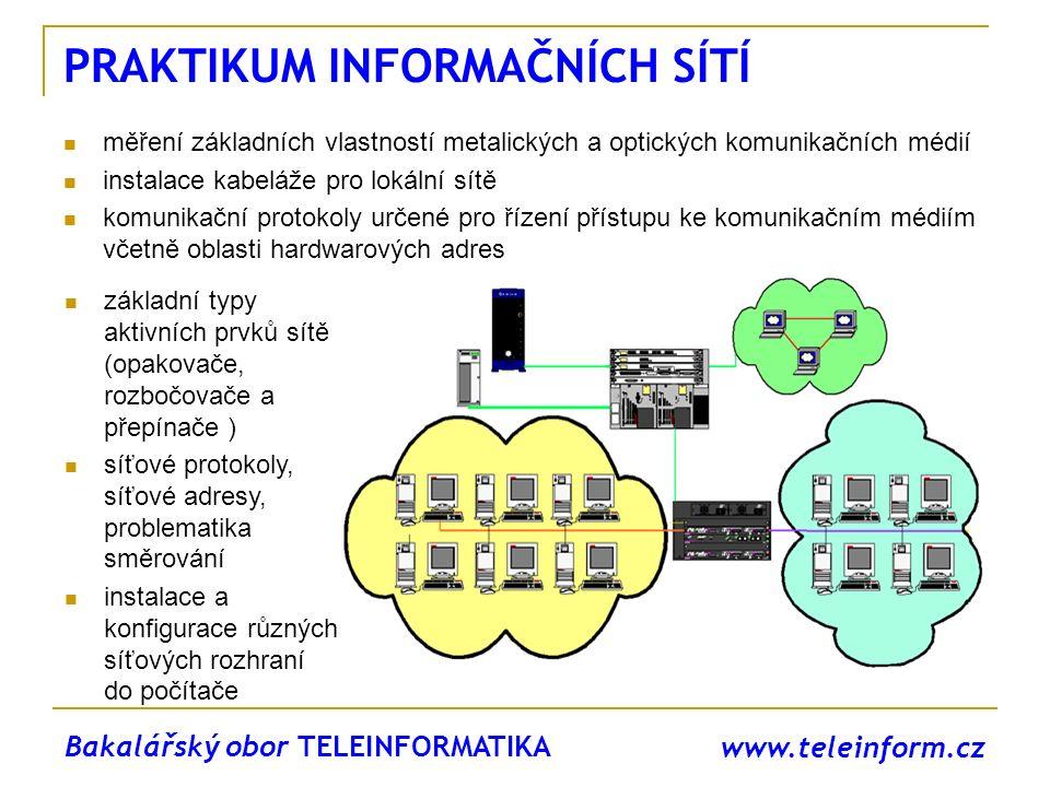 www.teleinform.cz MODERNÍ SÍŤOVÉ TECHNOLOGIE spojově orientované síťové technologie řízení v digitálních sítích moderní digitální signalizační systémy vysokorychlostní paketové přenosové technologie zajištění parametrů spojení (Quality of Services QoS) v paketových sítích směrování v datových sítích přenos hlasu a videa Magisterský obor TELEKOMUNIKAČNÍ A INFORMAČNÍ TECHNIKA