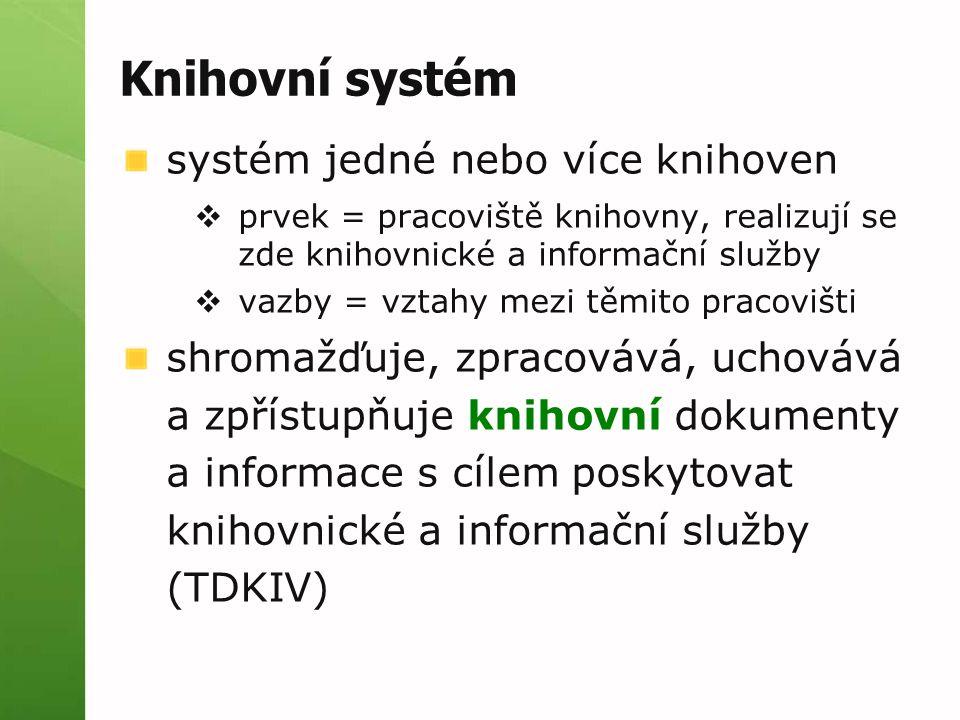 Knihovní systém systém jedné nebo více knihoven  prvek = pracoviště knihovny, realizují se zde knihovnické a informační služby  vazby = vztahy mezi