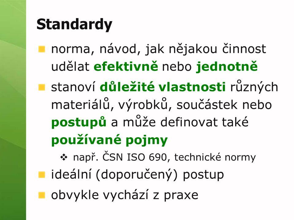 Standardy norma, návod, jak nějakou činnost udělat efektivně nebo jednotně stanoví důležité vlastnosti různých materiálů, výrobků, součástek nebo post