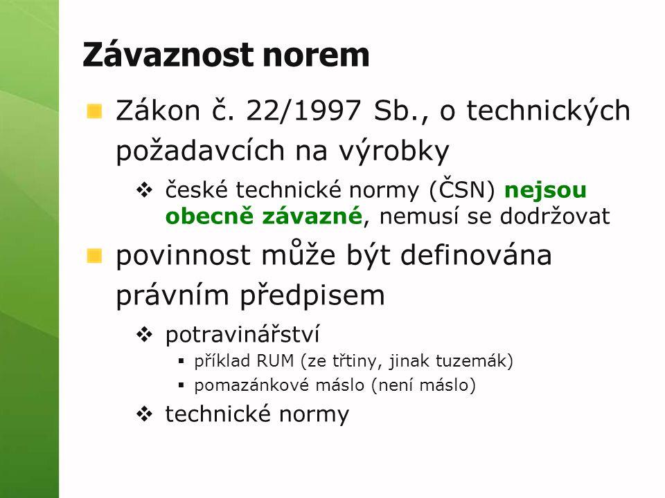 Závaznost norem Zákon č. 22/1997 Sb., o technických požadavcích na výrobky  české technické normy (ČSN) nejsou obecně závazné, nemusí se dodržovat po