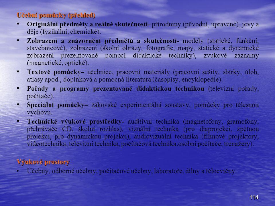 114 Učební pomůcky (přehled) Originální předměty a reálné skutečnosti- přírodniny (původní, upravené), jevy a děje (fyzikální, chemické). Zobrazení a