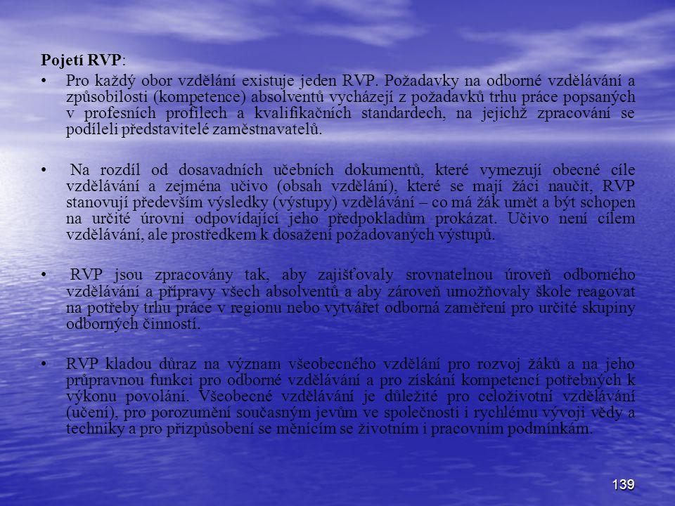 139 Pojetí RVP: Pro každý obor vzdělání existuje jeden RVP. Požadavky na odborné vzdělávání a způsobilosti (kompetence) absolventů vycházejí z požadav