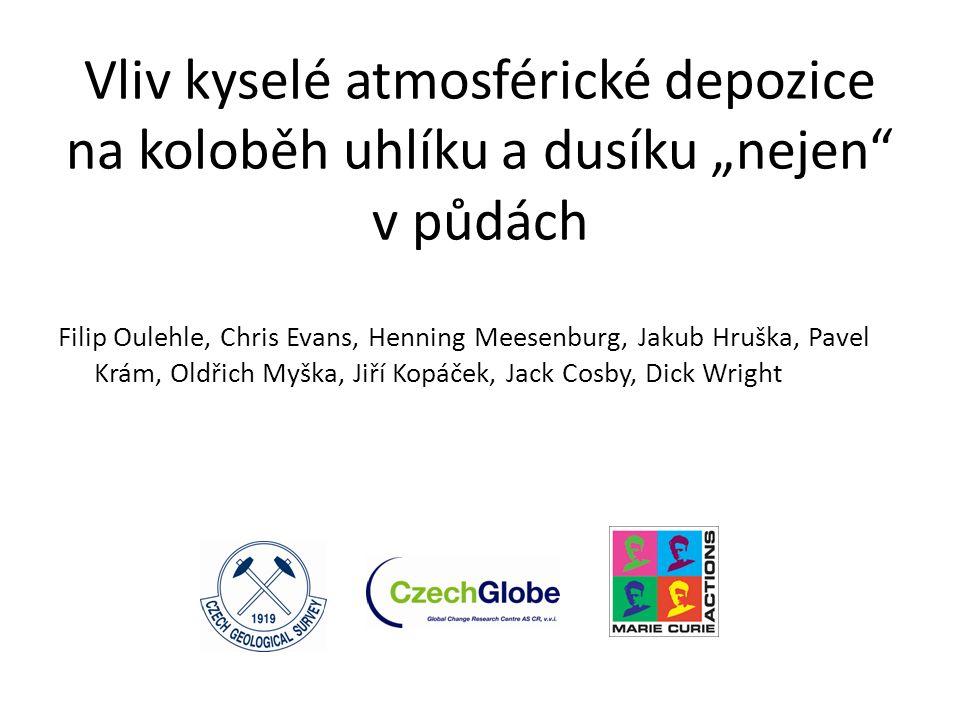 Pět témat o kterých bych dnes rád mluvil: Globální rozsah kyselé atmosférické depozice Vliv acidifikace prostředí na akumulaci uhlíku v lesních půdách Vliv acidifikace na mobilitu rozpuštěného organického uhlíku (DOC) Vztah mezi přístupností DOC a půdní respirací Propojení dynamiky C a N v biogeochemických modelech (MAGIC) Intro Monitoring Experiment Modelování