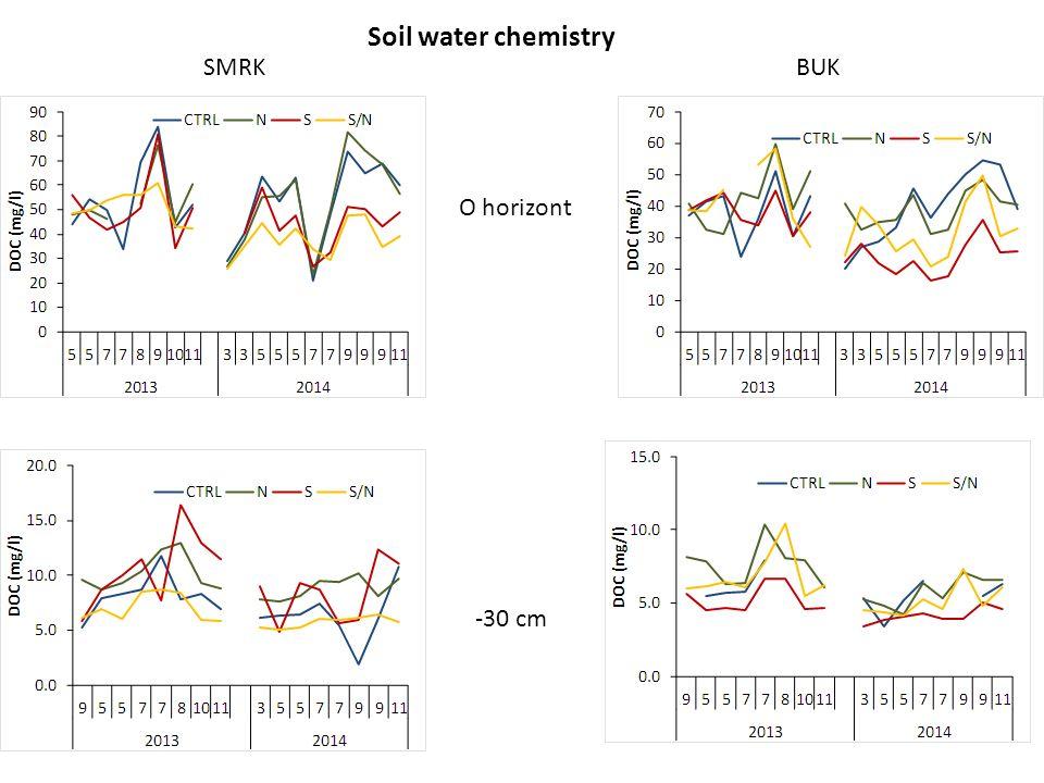 Soil water chemistry SMRKBUK O horizont -30 cm