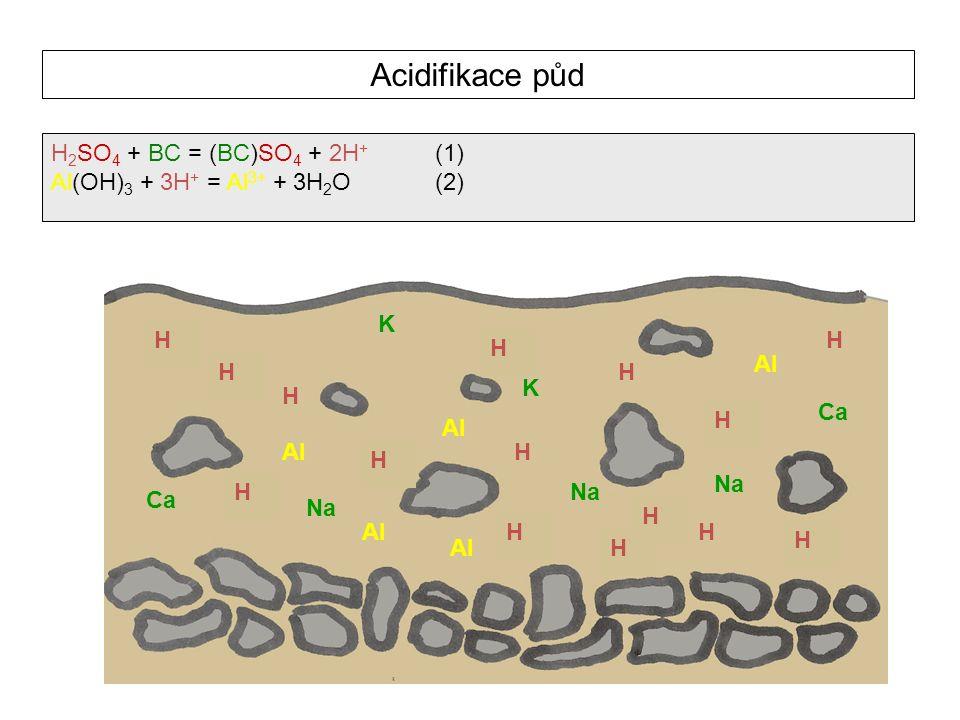Acidifikace půd Ca Mg K K K Ca K K Na Ca Mg K Na H H H H H H H H H H H H H H H Al H 2 SO 4 + BC = (BC)SO 4 + 2H + (1) Al(OH) 3 + 3H + = Al 3+ + 3H 2 O