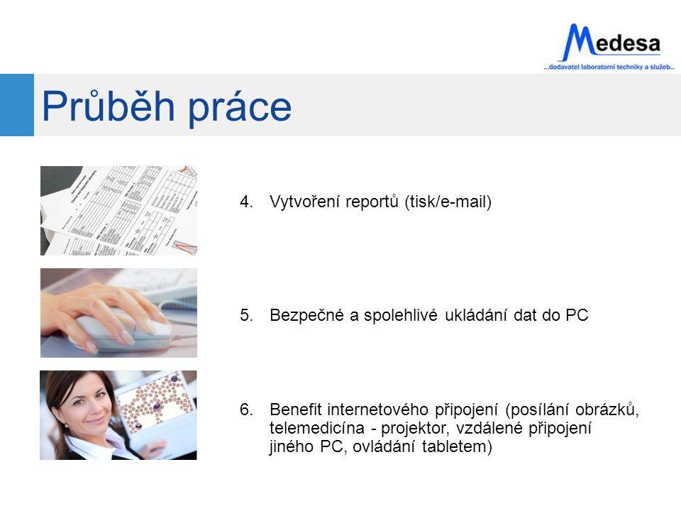 Průběh práce 4.Vytvoření reportů (tisk/e-mail) 5.Bezpečné a spolehlivé ukládání dat do PC 6.Benefit internetového připojení (posílání obrázků, telemedicína - projektor, vzdálené připojení jiného PC, ovládání tabletem)