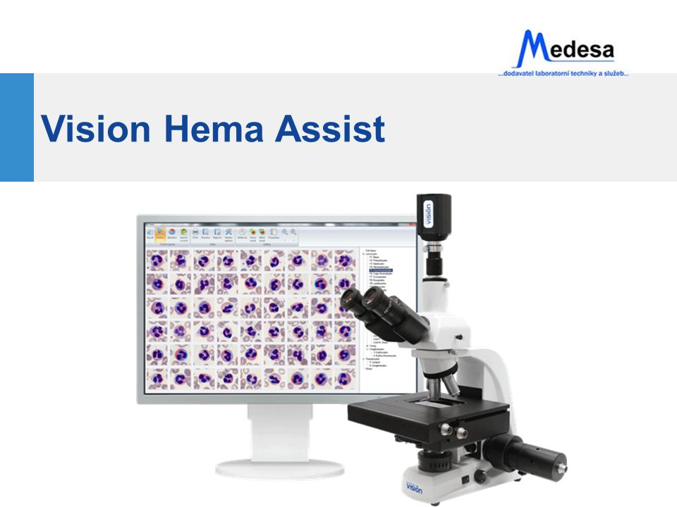 Aplikace Medicína Klinické laboratoře Hematologie Výzkum - Onkologie Transfúzní stanice Farmacie Vzdělávání Vzdálená konzultace Trénink specialistů Telemedicína