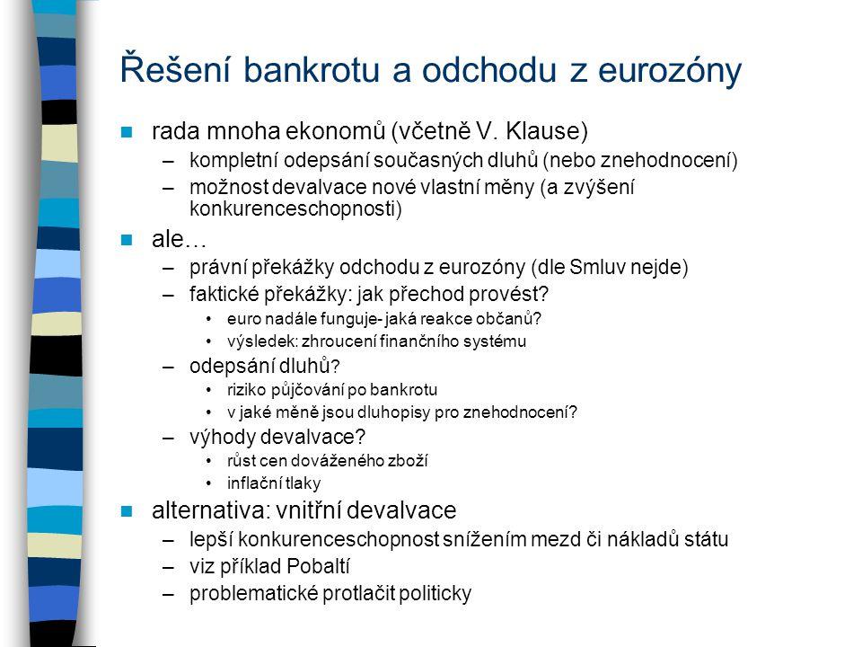 Řešení bankrotu a odchodu z eurozóny rada mnoha ekonomů (včetně V. Klause) –kompletní odepsání současných dluhů (nebo znehodnocení) –možnost devalvace