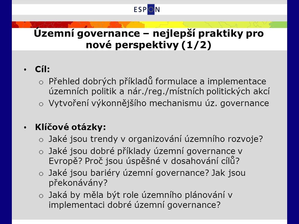Územní governance – nejlepší praktiky pro nové perspektivy (1/2) Cíl: o Přehled dobrých příkladů formulace a implementace územních politik a nár./reg./místních politických akcí o Vytvoření výkonnějšího mechanismu úz.