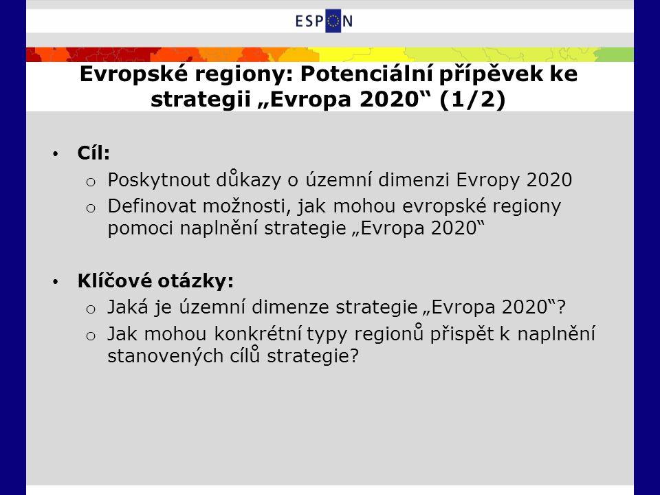 """Evropské regiony: Potenciální přípěvek ke strategii """"Evropa 2020 (1/2) Cíl: o Poskytnout důkazy o územní dimenzi Evropy 2020 o Definovat možnosti, jak mohou evropské regiony pomoci naplnění strategie """"Evropa 2020 Klíčové otázky: o Jaká je územní dimenze strategie """"Evropa 2020 ."""