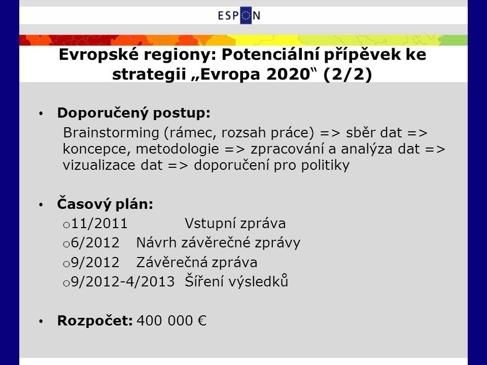 """Evropské regiony: Potenciální přípěvek ke strategii """"Evropa 2020 (2/2) Doporučený postup: Brainstorming (rámec, rozsah práce) => sběr dat => koncepce, metodologie => zpracování a analýza dat => vizualizace dat => doporučení pro politiky Časový plán: o 11/2011 Vstupní zpráva o 6/2012 Návrh závěrečné zprávy o 9/2012 Závěrečná zpráva o 9/2012-4/2013 Šíření výsledků Rozpočet: 400 000 €"""