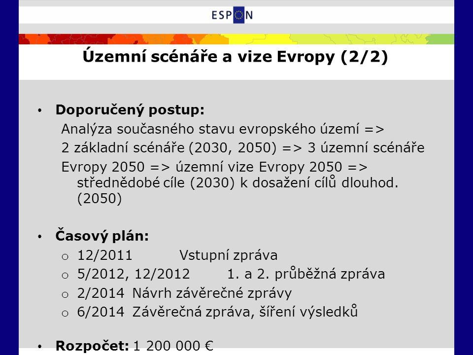 Územní scénáře a vize Evropy (2/2) Doporučený postup: Analýza současného stavu evropského území => 2 základní scénáře (2030, 2050) => 3 územní scénáře Evropy 2050 => územní vize Evropy 2050 => střednědobé cíle (2030) k dosažení cílů dlouhod.