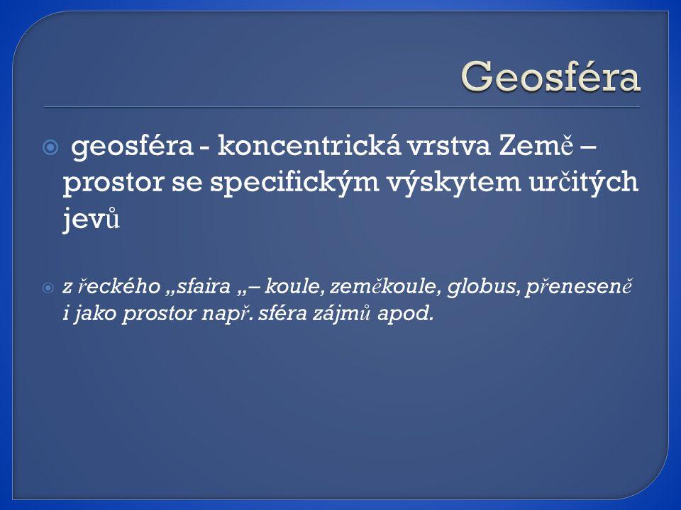""" geosféra - koncentrická vrstva Zem ě – prostor se specifickým výskytem ur č itých jev ů  z ř eckého """"sfaira """"– koule, zem ě koule, globus, p ř enesen ě i jako prostor nap ř."""