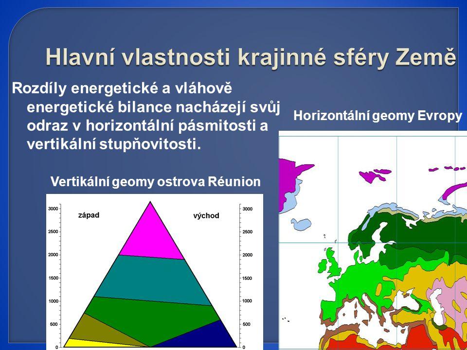Rozdíly energetické a vláhově energetické bilance nacházejí svůj odraz v horizontální pásmitosti a vertikální stupňovitosti.