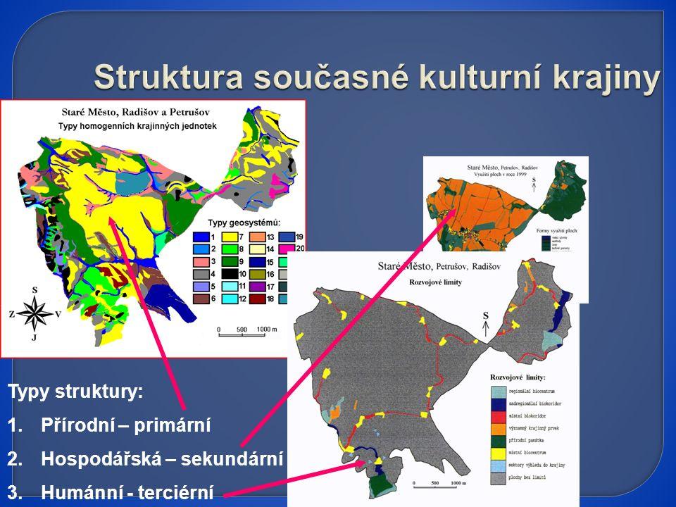 Typy struktury: 1.Přírodní – primární 2.Hospodářská – sekundární 3.Humánní - terciérní