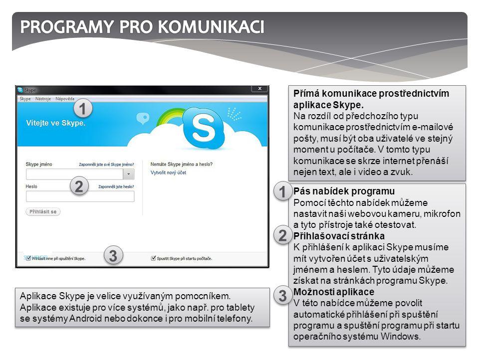 Pás nabídek programu Pomocí těchto nabídek můžeme nastavit naši webovou kameru, mikrofon a tyto přístroje také otestovat. Přihlašovací stránka K přihl