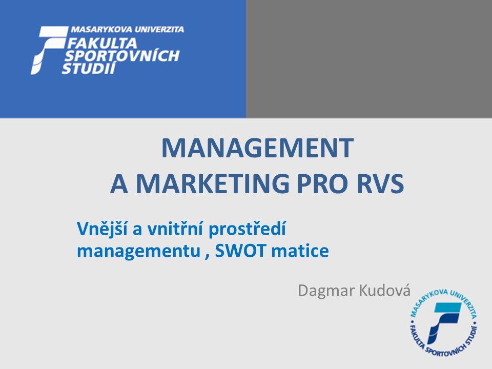 Vnější a vnitřní prostředí managementu, SWOT matice Dagmar Kudová MANAGEMENT A MARKETING PRO RVS