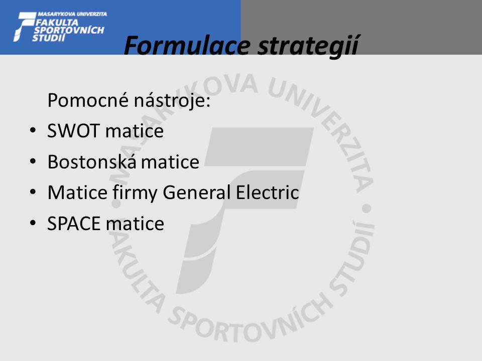 Formulace strategií Pomocné nástroje: SWOT matice Bostonská matice Matice firmy General Electric SPACE matice