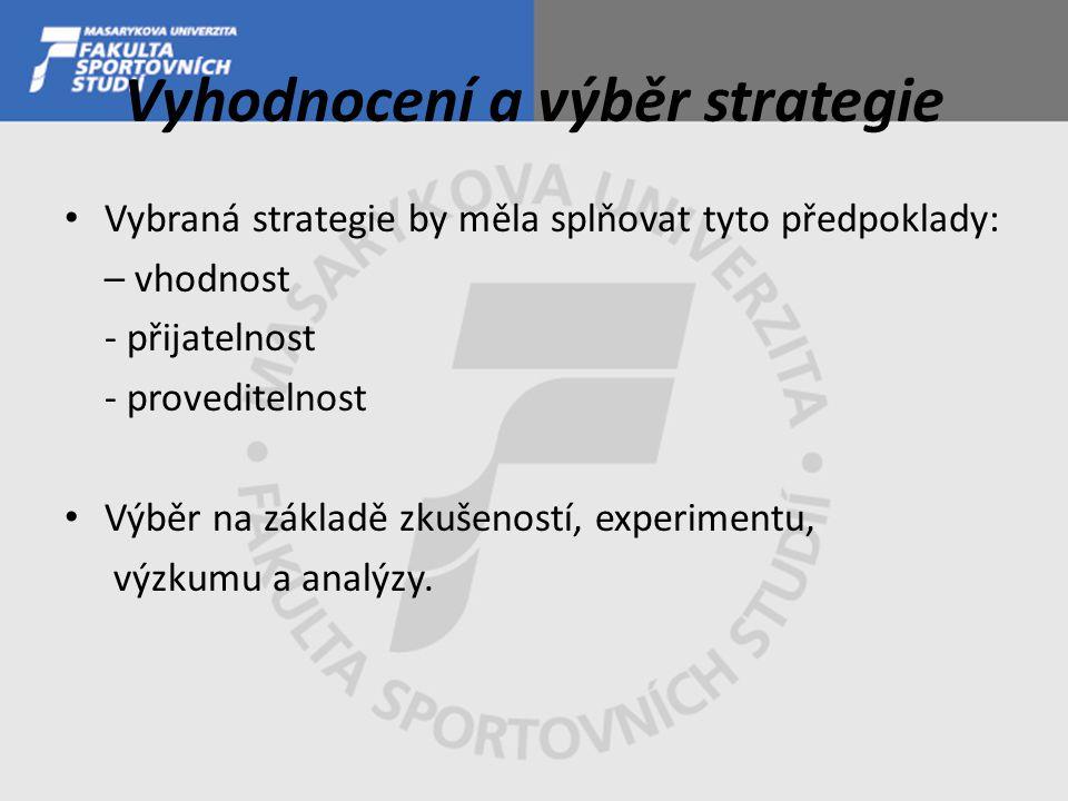 Vyhodnocení a výběr strategie Vybraná strategie by měla splňovat tyto předpoklady: – vhodnost - přijatelnost - proveditelnost Výběr na základě zkušeností, experimentu, výzkumu a analýzy.
