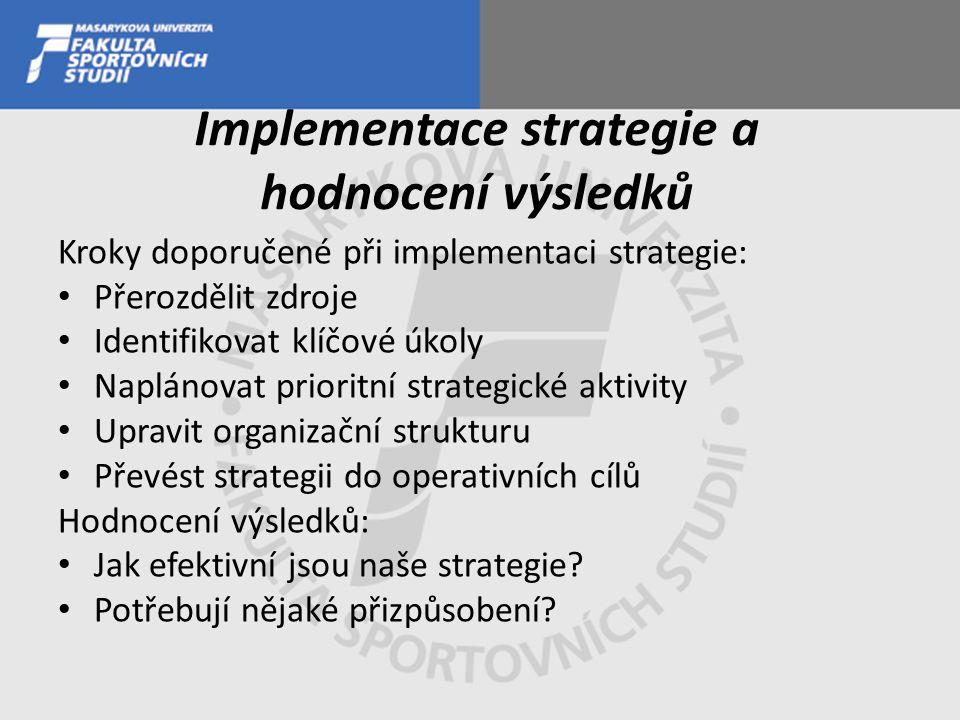 Implementace strategie a hodnocení výsledků Kroky doporučené při implementaci strategie: Přerozdělit zdroje Identifikovat klíčové úkoly Naplánovat prioritní strategické aktivity Upravit organizační strukturu Převést strategii do operativních cílů Hodnocení výsledků: Jak efektivní jsou naše strategie.
