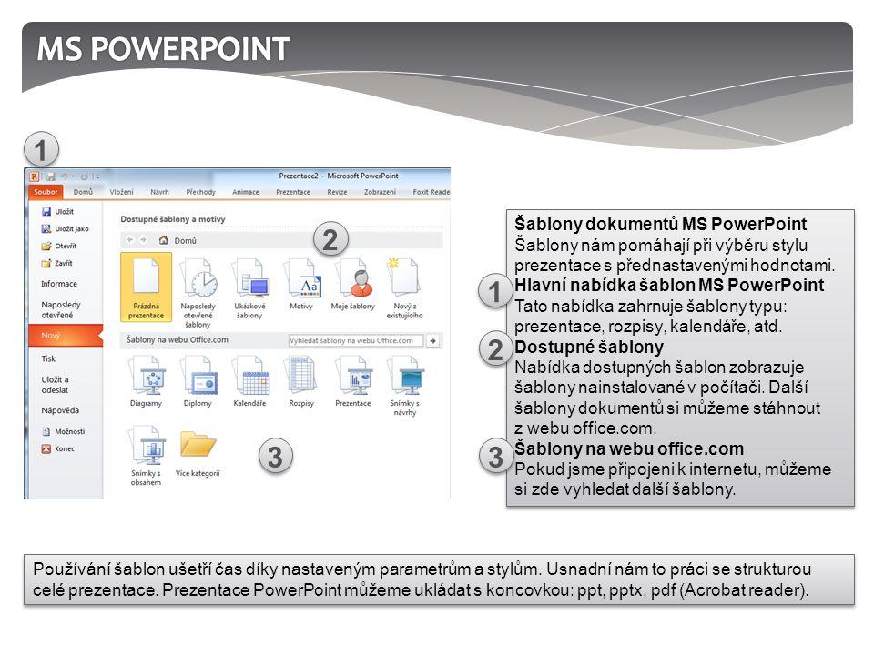 Šablony dokumentů MS PowerPoint Šablony nám pomáhají při výběru stylu prezentace s přednastavenými hodnotami.